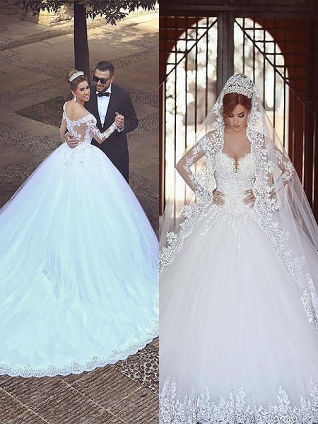 Tulle Off-the-Shoulder Court Train Ball Gown Wedding Dresses