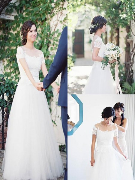 A-Line Bateau Tulle Sweep/Brush Train Ball Gown Wedding Dresses