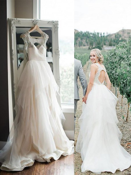 A-Line Straps Sweep/Brush Train Tulle Ball Gown Wedding Dresses
