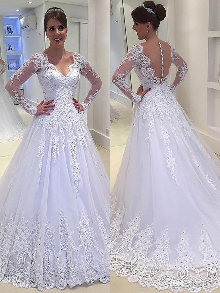 A-Line Applique V-neck Court Train Tulle Ball Gown Wedding Dresses
