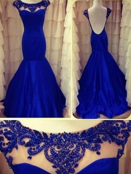 Mermaid Scoop Beading Floor-length Taffeta Prom Dresses