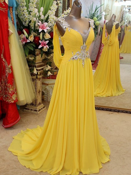 A-Line Straps Beading Sweep/Brush Train Chiffon Prom Dresses