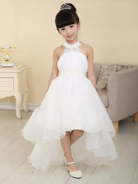A-Line High Neck Beading High Low Organza Flower Girl Dresses
