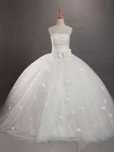Strapless Ruffles Tulle Ball Gown Flower Girl Dresses