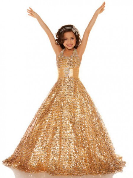 A-Line Halter Sequin Sequins Flower Girl Dresses