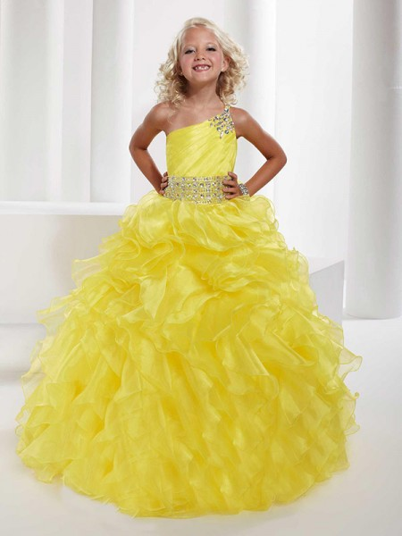 One-shoulder Beading Organza Ball Gown Flower Girl Dresses