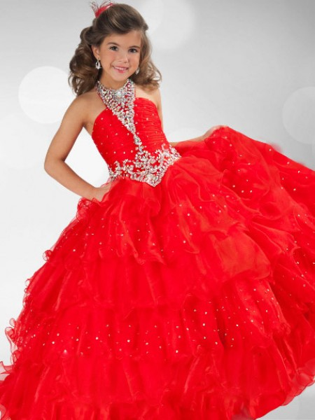 Halter Sequin Rhinestone Organza Ball Gown Flower Girl Dresses