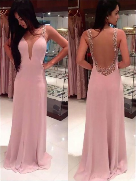 A-Line Straps Beading Floor-length Chiffon Prom Dresses