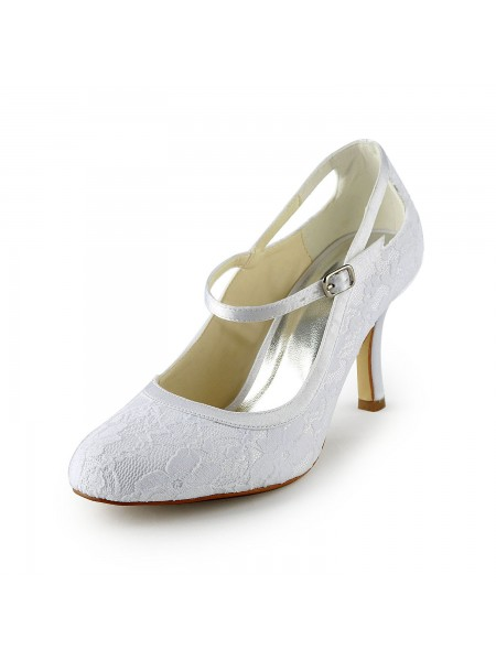 Latest Women's Pretty Satin Stiletto Heel Pumps With Buckle White Wedding Shoes