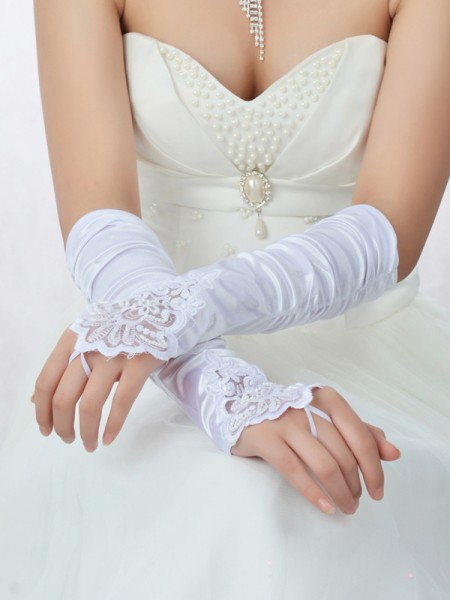 Fashion Romantic Lace Satin Beading Wedding Gloves