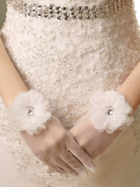 Fashion Beautiful Tulle Hand-Made Flower Wedding Gloves