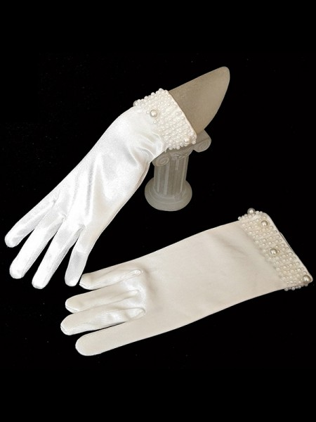 Fashion Trending Cloth With Pearl Wedding Gloves