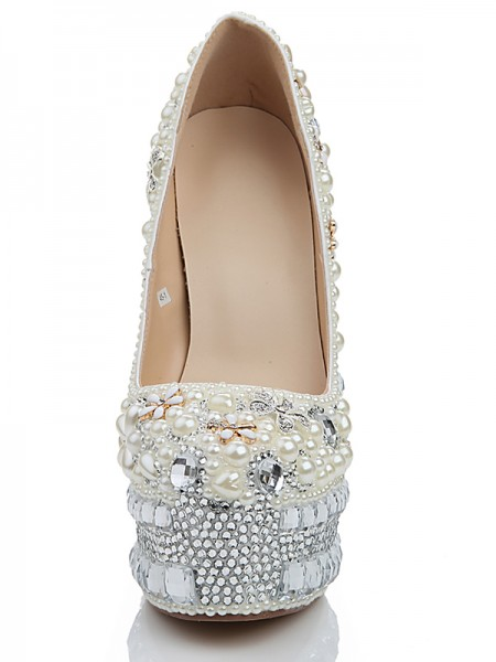 Latest Women's Stiletto Heel Platform Patent Leather Closed Toe With Pearl White Wedding Shoes