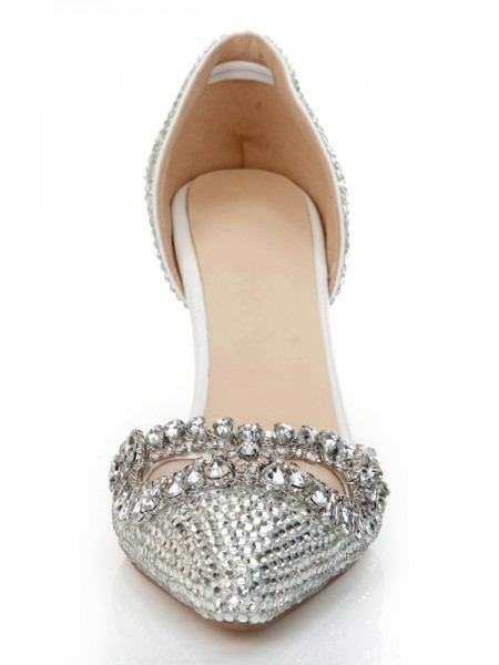 Latest Women's Stiletto Heel Patent Leather Closed Toe With Rhinestone Silver Wedding Shoes