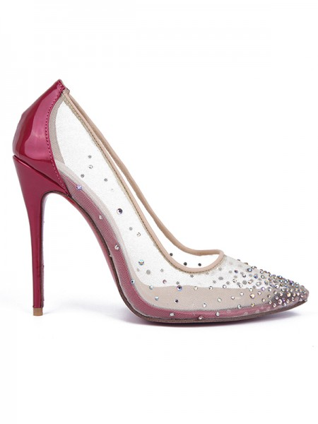 Latest Women's Patent Leather Closed Toe with Hot Drilling Stiletto Heel High Heels