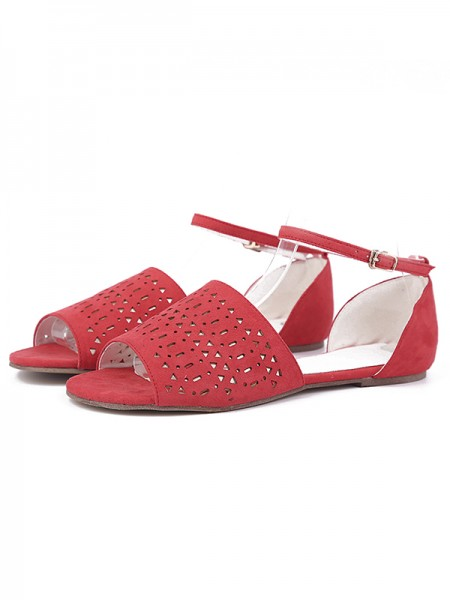 Latest Women's Flock Flat Heel Peep Toe With Hot Drilling Red Sandals Shoes