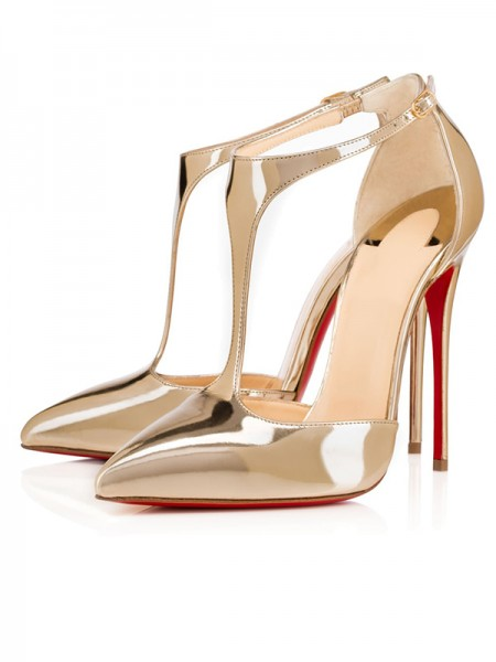 Latest Women's Patent Leather Closed Toe Stiletto Heel Gold Sandals Shoes