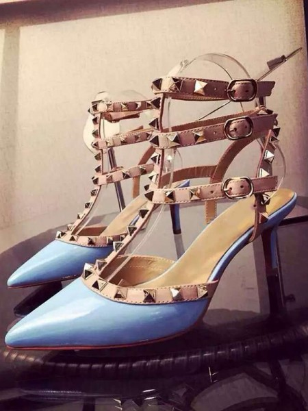 Latest Women's Patent Leather Closed Toe Stiletto Heel With Rivet Party Sandals Shoes