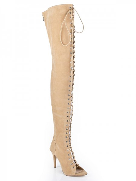 Latest Women's Suede Stiletto Heel Peep Toe With Lace-up Over The Knee Champagne Boots