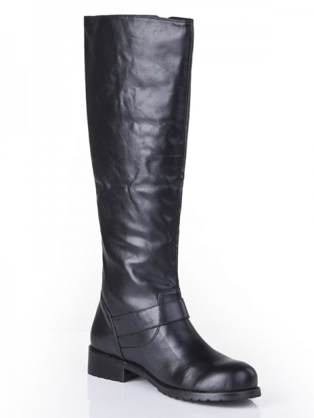 Latest Women's Cattlehide Leather Closed Toe Kitten Heel With Buckle Mid-Calf Black Boots