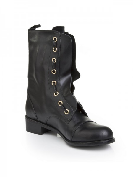 Latest Women's Cattlehide Leather With Lace-up Kitten Heel Mid-Calf Black Boots