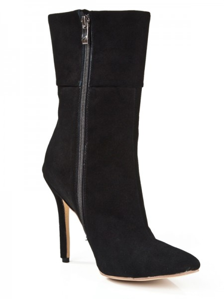 Latest Women's Suede Stiletto Heel Closed Toe With Zipper Mid-Calf Black Boots