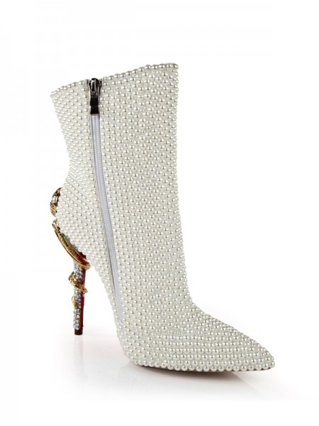 Latest Women's Patent Leather Stiletto Heel With Pearl Mid-Calf White Boots