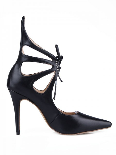 Latest Women's Sheepskin Stiletto Heel Close Toe With Hollow-out High Heels