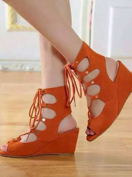 Latest Women's Wedge Heel Suede Peep Toe With Lace-up Sandal Ankle Orange Boots