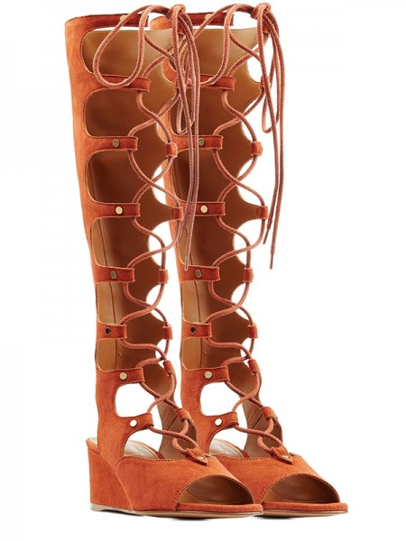 Latest Women's Wedge Heel Peep Toe Suede With Lace-up Sandal Knee High Orange Boots
