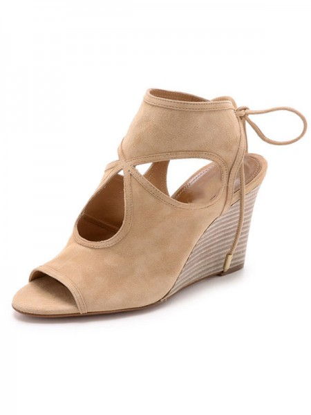 Latest Women's Peep Toe Suede Wedge Heel With Lace-up Sandal Ankle Champagne Boots