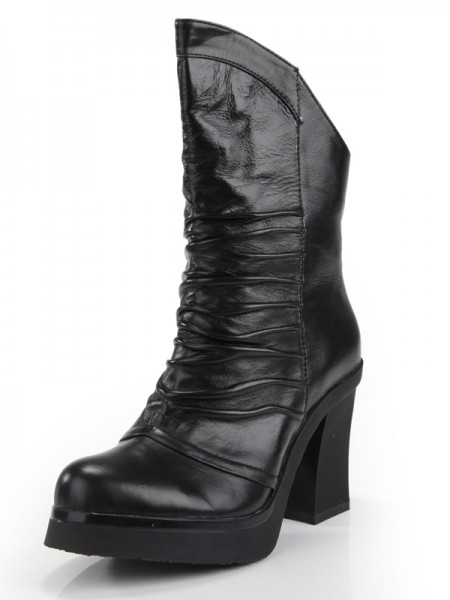 ae97187f789a Latest Women s Cattlehide Leather Chunky Heel Closed Toe With Ruched Mid-Calf  Black Boots ...
