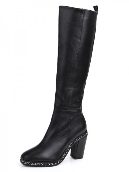 Latest Women's Cattlehide Leather Chunky Heel Closed Toe With Chain Knee High Black Boots