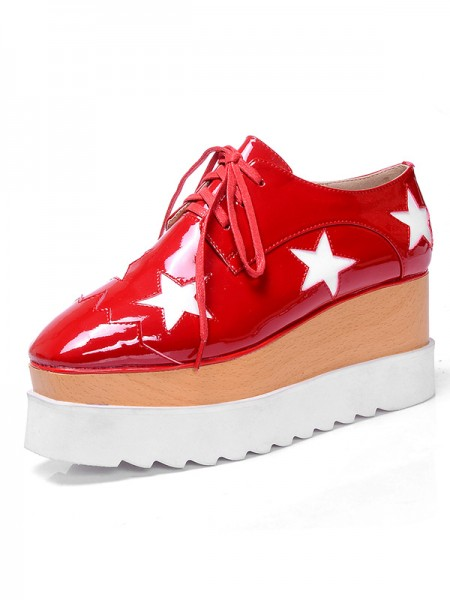 Latest Women's Patent Leather Platform Closed Toe Fashion Sneakers Red Fashion Sneakers