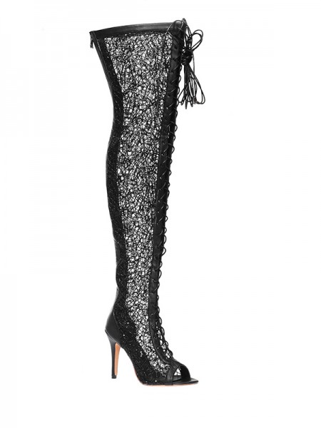 Latest Women's Lace Platform Peep Toe Stiletto Heel With Lace-up Over The Knee Black Boots