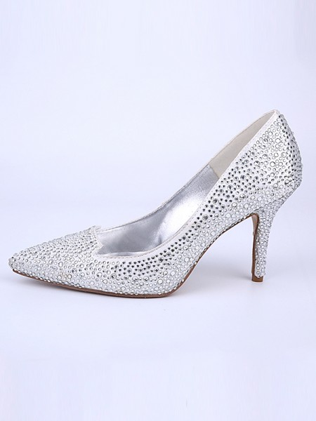 Latest Women's Closed Toe Stiletto Heel With Crystal Silver Wedding Shoes