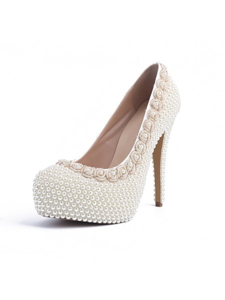 Latest Women's Patent Leather Closed Toe Stiletto Heel Platform With Pearl White Wedding Shoes