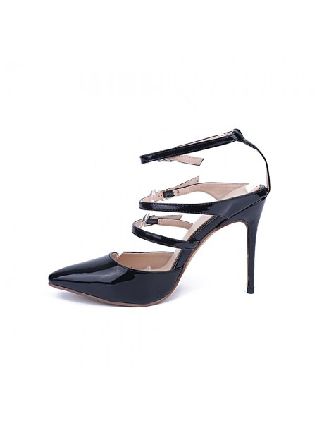Latest Women's Patent Leather Closed Toe Stiletto Heel With Buckle Party Sandals Shoes