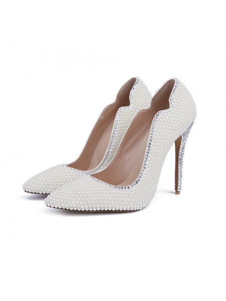 Latest Women's Closed Toe Patent Leather Stiletto Heel With Pearl White Wedding Shoes