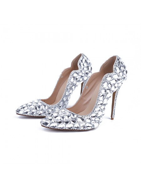 Latest Women's Patent Leather Closed Toe Stiletto Heel With Rhinestone Silver Wedding Shoes