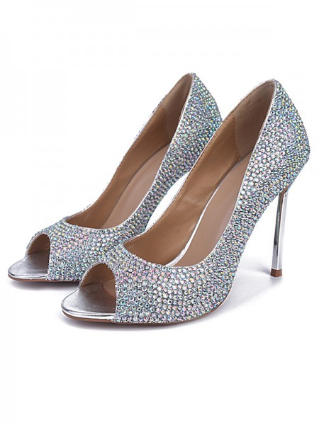 Latest Women's Sheepskin Peep Toe Stiletto Heel With Rhinestone High Heels