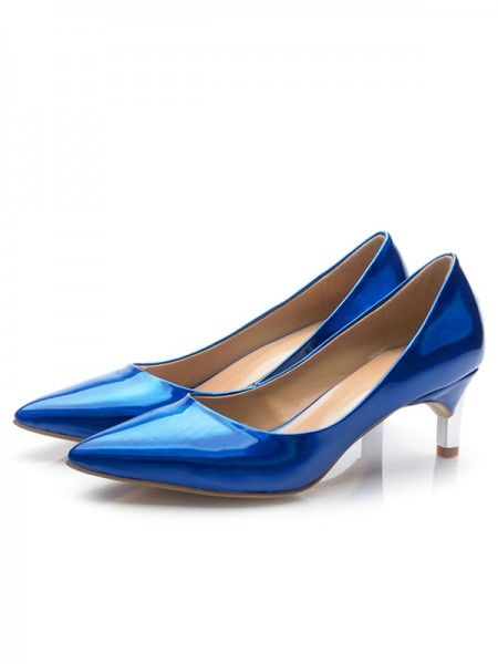 Latest Women's Royal Blue Patent Leather Closed Toe Cone Heel High Heels