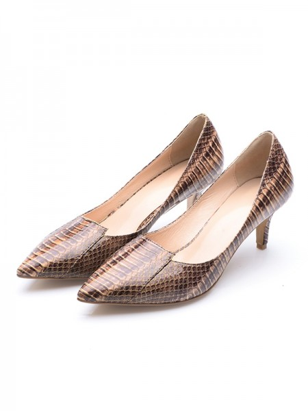 Latest Women's Cone Heel Patent Leather Closed Toe With Crocodile Print High Heels