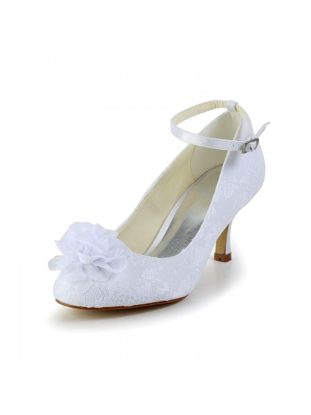 Latest Women's Satin Closed Toe White Wedding Shoes With Flower Buckle