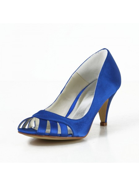 Latest Women's Satin Cone Heel Peep Toe Pumps High Heels With Hollow-out