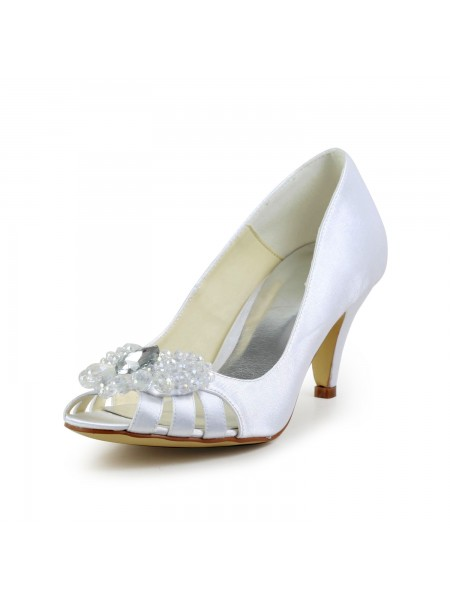 Latest Women's Satin Cone Heel Peep Toe Sandals White Wedding Shoes With Hollow-out