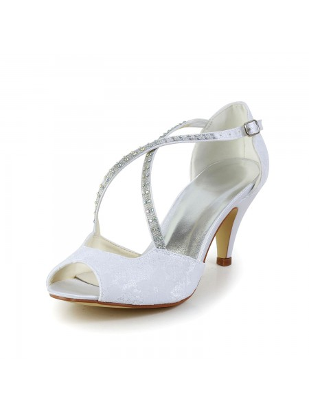 Latest Women's Satin Cone Heel Peep Toe Sandals White Wedding Shoes With Rhinestone Buckle