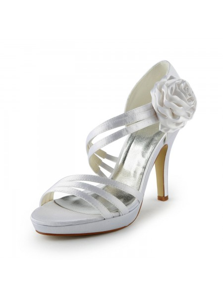 Latest Women's Satin Stiletto Heel Platform Sandals White Wedding Shoes With Flower