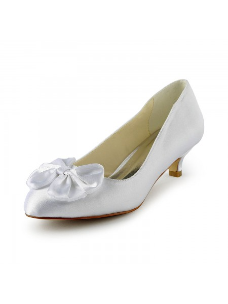 Latest Women's Satin Kitten Heel Pumps With Bowknot White Wedding Shoes