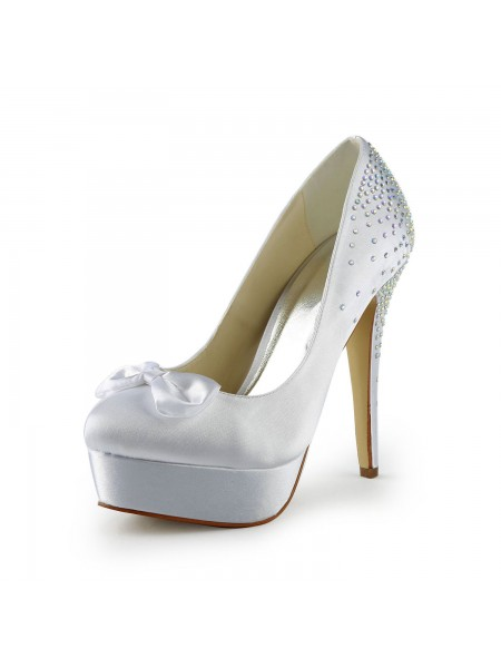Latest Women's Satin Stiletto Heel Closed Toe Platform White Wedding Shoes With Bowknot